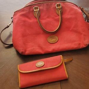 Red cloth Dooney and Bourke bag/wallet set!